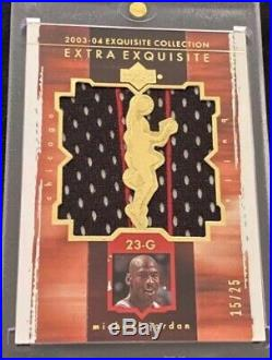 03/04 Ud Exquisite Michael Jordan Jumbo Game Used Gold 2 Color Jersey #15/25 $$