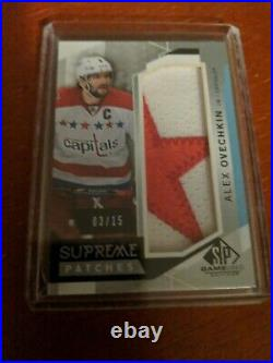 15-16 UD SP Game Used Supreme Swatches Jersey Patch Alex Ovechkin Capitals 3/15