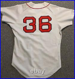 1981 Eddie Yost game used Boston Red Sox home white jersey