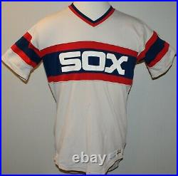 1983 Chicago White Sox Game Worn Used Sand Knit Road Jersey Sz 44
