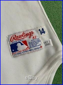 1990 Julio Franco Texas Rangers Game-Used & Autographed Home Jersey