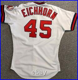 1991 Mark Eichhorn California Angels game used home white jersey