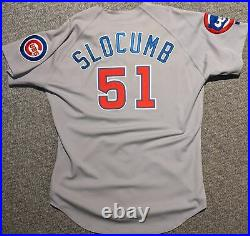 1992 Heathcliffe Slocumb game used Chicago Cubs jersey Cubbie and logo patches