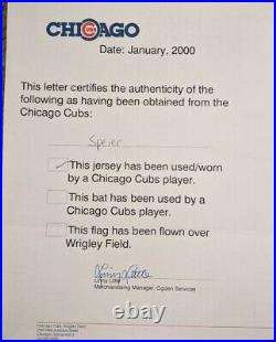 1998 Justin Speier game used Chicago Cubs jersey Harry Caray and Hey-Hey patch