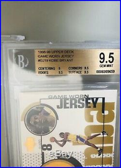 1998 Kobe Bryant UD Game Jersey 1st Ever NBA Game Used Patch Card BGS GEM 9.5