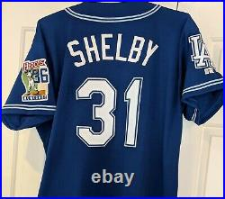 1999 John Shelby LA Dodgers game used blue jersey -rare Newcombe patch auto