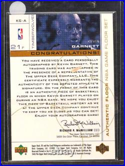 2000 1999 SP Game Used Jersey FLOOR Patch AUTO Kevin Garnett #d 7/21 Flawless