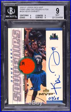 2000 1999 UD MVP Game Used Ball PATCH Kevin GARNETT AUTO /25 BGS 9 Exquisite 1/1