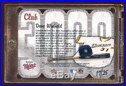 2000 Fleer 3000 Club #d /25 Dave Winfield Triple Game Used Hat-bat-jersey Mint