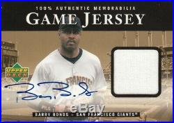 2000 Ud Upper Deck Barry Bonds Game Used Jersey Auto Autograph H-bb S. F. Giants