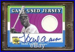 2001 Ud Hank Aaron Game Used Jersey Autograph Auto Sp Super Rare Find Braves