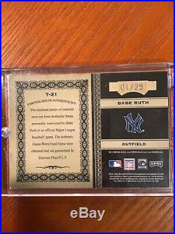 2005 Donruss Playoff Babe Ruth Prime Cuts Game Used and Worn Bat And Jersey 1/25