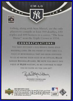 2007 UD Sweet Spot Classic Lou Gehrig Game Used Jersey