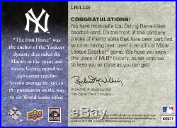 2008 Upper Deck Premier Lou Gehrig Game Used Pinstripe Jersey Patch Sp 4/10