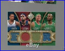 2009-10 SP Game Used Four on Four jersey #d 23/65 LEBRON JAMES KOBE BRYANT SHAQ