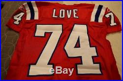 2011 New England Patriots Home Red NFL Game Used Worn Jersey MHK Patch Kyle Love