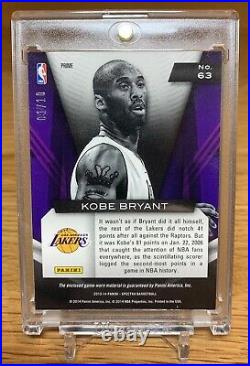 2013-14 Spectra Gold Prizm Game Time Materials Prime Patch Kobe Bryant 01/10