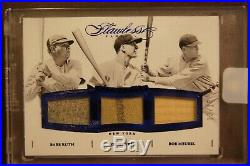 2016 Flawless BABE RUTH LOU GEHRIG HUGGINS Game Used Jersey Stitching /15