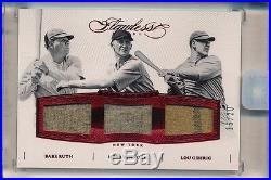 2016 Flawless BABE RUTH LOU GEHRIG PENNOCK Game Used Pinstripe Jersey #16/20