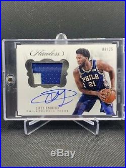 2017-18 Flawless Joel Embiid Auto Jersey /25 On Card Autograph Game Used