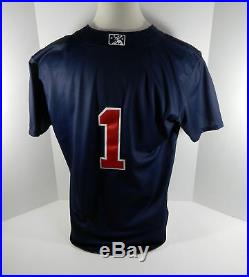 2017 Gwinnett Braves Ozzie Albies #1 Game Used Navy Batting Practice Jersey