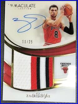 2018 19 Immaculate ZACH LAVINE Signed Auto Game Used Bulls Jersey Patch 11/ 25