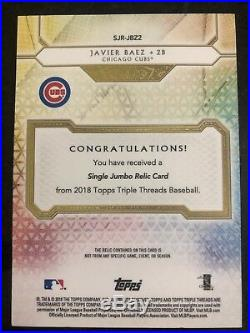 2018 Topps Triple Threads Javier Baez Ruby Red Game Used Jumbo Jersey Patch #1/1