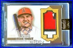 2019 Topps Dynasty MIKE TROUT 3 Color Game Used Jersey Auto # 6/10! Encased SP
