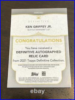 2021 Topps Definitive Ken Griffey Jr. Auto Game Used Jersey Green 06/10 On Card