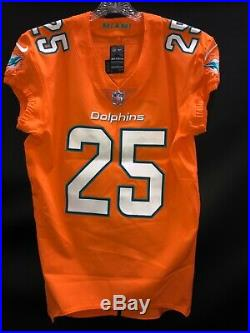 #25 Xavien Howard Miami Dolphins Game Used/team Issued Orange Color Rush Jersey