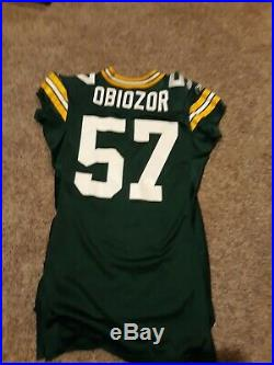 #57 Cyril obiozor size 48 game used/issued jersey worn packers green bay