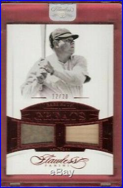 BABE RUTH 2017 FLAWLESS GAME USED JERSEY & BAT CARD #d12/20 NEW YORK YANKEES