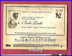 BABE RUTH 3 GAME USED JERSEY & BAT CARD #d 2009 TOPPS TRIBUTE NEW YORK YANKEES