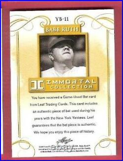 BABE RUTH GAME USED BAT CARD #d 3/20 RUTH'S JERSEY NUMBER 1 OF 1 NY YANKEES LEAF