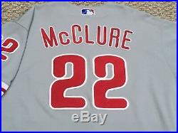 BOB McCLURE size 50 #22 2017 Phillies GAME USED JERSEY road gray MLB HOLOGRAM