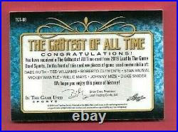 Babe Ruth Bat Card Mickey Mantle Ted Williams Clemente Mays Jersey Leaf 1 Of 1