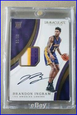 Brandon Ingram Immaculate Collection Game Used Jersey Patch Rookie Auto /99