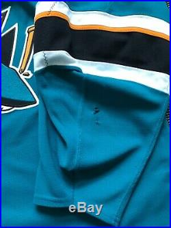 Brenden Dillon 2018/19 Game Used Worn San Jose Sharks Jersey, Photo Matched