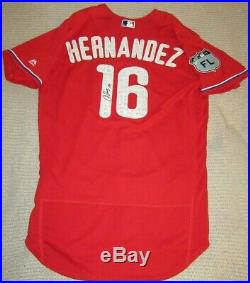 Cesar Hernandez Phillies Indians 2018 Game Used Autograph Spring Training Jersey