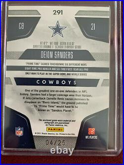 Deion Sanders 2011 Panini Certified Immortals Gold Game Used Jersey Auto 4/25