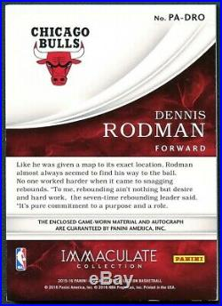 Dennis Rodman 2015 Immaculate Jersey Number 3-color Patch Auto /91 Game-used