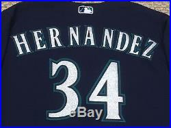 FELIX HERNANDEZ #34 2017 Seattle Mariners game used jersey road blue 40TH MLB