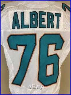 Game Used/Issued White Nike Miami Dolphins Jersey Albert #76 Virginia 2014