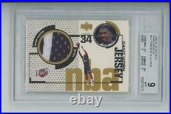 Hakeem Olajuwon 1998-99 Ud Upper Deck Game Used Jersey Patch Rockets Bgs 9 Mint