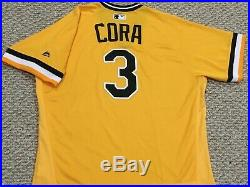 JOEY CORA size 46 #3 2017 Pittsburgh Pirates GAME USED jersey alt GOLD MLB holo