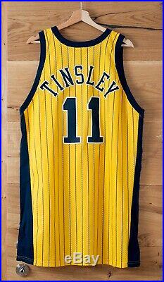 Jamaal Tinsley game used rookie jersey & shorts 9/11 patch. Photomatched. Pacers