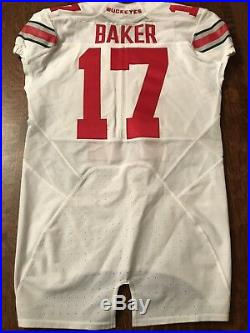 Jerome Baker Signed 2015 Fiesta Bowl Game Used Ohio State Buckeyes Jersey PSA