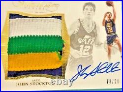 John Stockton 2015-16 Panini Flawless Huge 4 Color Game Jersey Patch Auto #13/20