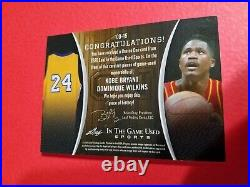 KOBE BRYANT GAME USED JERSEY DOMINIQUE WILKINS 1 ON 1 CARD #d2/12 2020 LEAF ITG