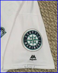 KYLE SEAGER size 46 #15 2016 Seattle Mariners game used jersey home white MLB